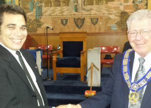 Fellow Craft Stephen Cerda and  Right Worshipful Richard G. Hoover, Senior Grand Warden of Florida